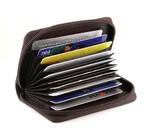 Accordion Credit Card Holder Brown Open