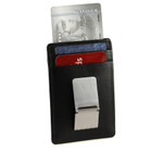 Slim Front Pocket Money Clip with ID Black