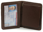 Bifold Money Clip Wallet Open Brown