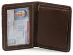 Bifold Money Clip Wallet Open Brown