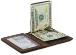 Bifold Money Clip Wallet Brown Open