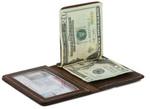 Bifold Money Clip Wallet Brown Open