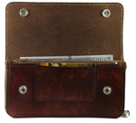 Leather Wallet with Chain Atique Open