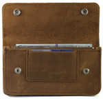 Leather Wallet with Chain Tan Open