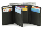 RFID Mens Trifold Leather Wallet with Extra Flap - Black
