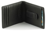 Wallet with Card Slot Behind Money Clip Inside - Black