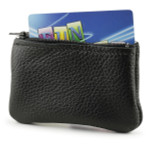 Holds change, folded cash, a card- Black