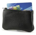 Holds change, folded cash, a card- Black