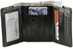 Eel Skin Trifold Wallet with Front ID - Black