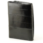Eel Skin Trifold Wallet Back - Black