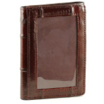 Eel Skin Trifold Wallet with Front ID - Burgundy