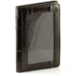 Eel Skin Trifold Wallet with Front ID - Brown