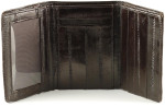 Eel Skin Trifold Wallet with Front ID - Brown Open