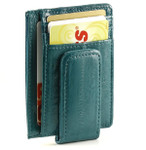 Magnetic Money Clip with ID Window - Teal