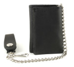 Trifold Chain Wallet with Chain: Black