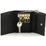 Trifold Leather Compact Key Case Wallet