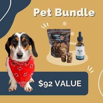 Pet Bundle | CBD Pet Treats and the CBD Pet Tincture | $92 value | picture of a small dog wearing a bandana