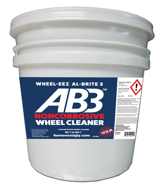 Wheel-eez® Al-Brite 3™ for Car Washes • NONCORROSIVE • NO HF • NO ABF Safe Wheel Cleaner that really works!  Use it just like a traditional wheel cleaner - spray on by hand or with automatic applicator and rinse off!   This product may be diluted to meet specific Tunnel and In-Bay needs.  Replacing corrosive wheel cleaners with our noncorrosive formula is better for the environment,  And it's also better for your bays - it's easier on car wash floors, conveyors, and fixtures.   Highly Concentrated • Use Straight / Mix to 55 Gallons • Use Straight - 64:1 to 120:1  Self Serve 240:1 • Mix into 55 gallon drum - then use 8:1 to 17:1 and higher.