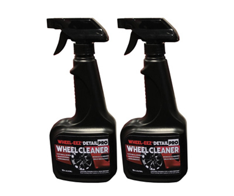 Wheel-eez® Detail Pro™ wheel cleaner offers the best in class wheel cleaner for professional detailers.  Detail Pro™ can be used with ALL Wheel types.  It is noncorrosive and safe to use, along with being biodegradable.  No more relying on harsh chemicals for your tough to clean wheels.    Just spray first with water, then mist Wheel-eez® Detail Pro on wheel.  Leave on for a few minutes for tough greasy dust and grime.  Agitate as needed and rinse away for a clean shiny wheel.   2x 16oz Bottle with Spray Trigger