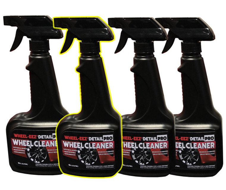 Convenient New Size! Wheel-eez® Detail Pro™ wheel cleaner offers the best in class wheel cleaner for professional detailers.  Detail Pro™ can be used with ALL Wheel types.  It is noncorrosive and safe to use, along with being biodegradable.  No more relying on harsh chemicals for your tough to clean wheels.    Just spray first with water, then mist Wheel-eez® Detail Pro on wheel.  Leave on for a few minutes for tough greasy dust and grime.  Agitate as needed and rinse away for a clean shiny wheel.   4x 16oz Bottle with Spray Trigger