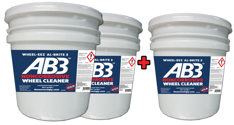 Wheel-eez® Al-Brite 3™ for Car Washes • NONCORROSIVE • NO HF • NO ABF Safe Wheel Cleaner that really works!  Use it just like a traditional wheel cleaner - spray on by hand or with automatic applicator and rinse off!   This product may be diluted to meet specific Tunnel and In-Bay needs.  Replacing corrosive wheel cleaners with our noncorrosive formula is better for the environment,  And it's also better for your bays - it's easier on car wash floors, conveyors, and fixtures.   Highly Concentrated