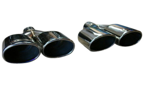 Universal Oval AMG Look Slide on Polished Tips Exhaust Upgrade
