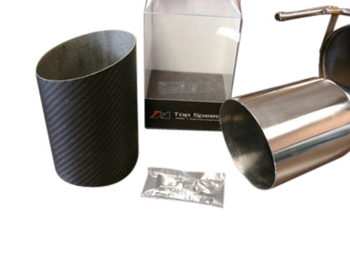 "Top Speed Pro1 Universal 114MM 4.5"" Slide on Carbon Fiber Tip Exhaust Upgrade , Angle Cut"