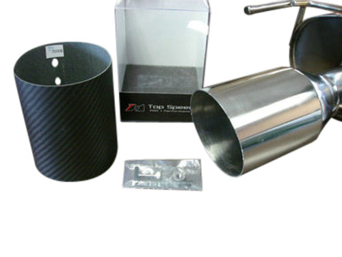 "Top Speed Pro1 Universal 114MM 4.5"" Slide on Carbon Fiber Tip Exhaust Upgrade , Straight Cut"