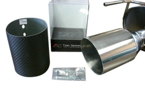 "Top Speed Pro1 Universal 114MM 4.5"" Slide on Carbon Fiber Tip Exhaust Upgrade , Straight Cut"