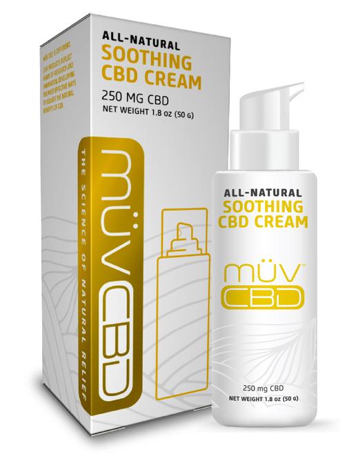 MUV CBD Soothing Cream box and bottle.