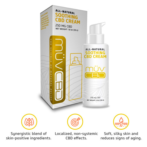 MUV Soothing CBD Topical Cream box and bottle with benefits