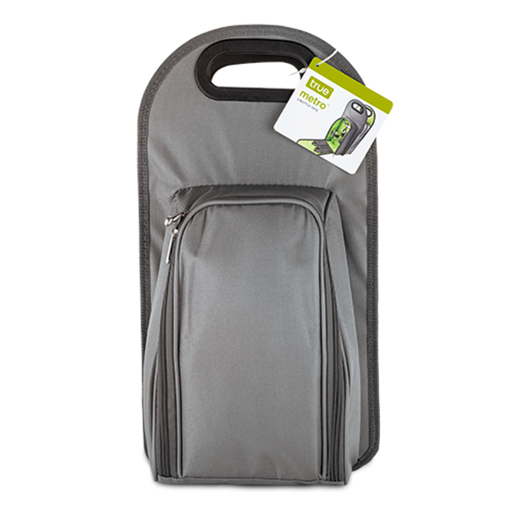 Metro™-2 Bottle Picnic Carrier with Wine Key- Gray and Green