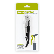 Truetap™ Soft Touch Black Double Hinged Corkscrew by True