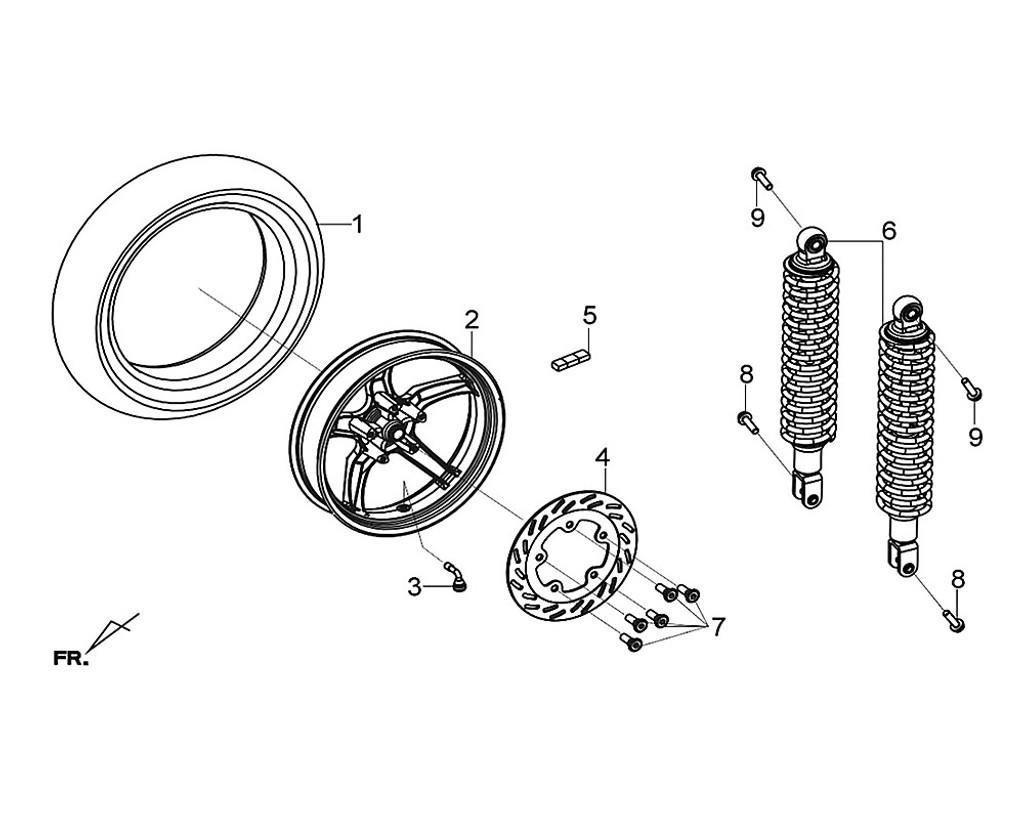 02 RR. Cast Wheel Comp BK-001C - Citycom S 300i
