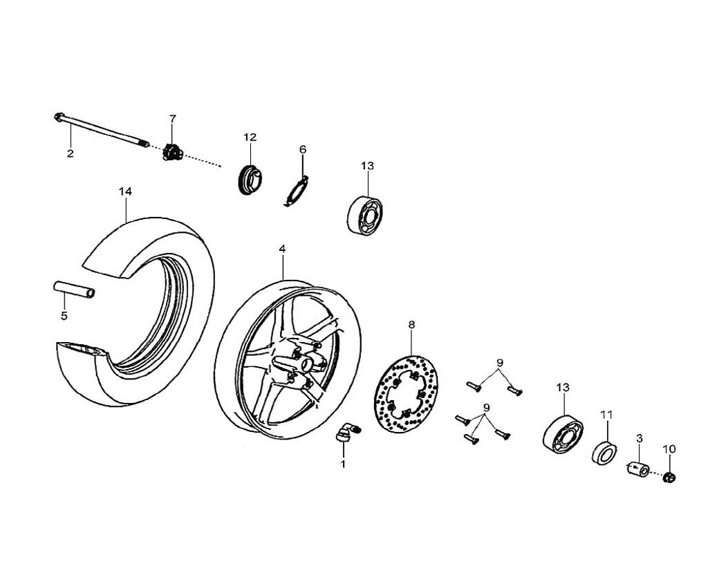 02 Fr. Wheel Axle - HD 200 Evo