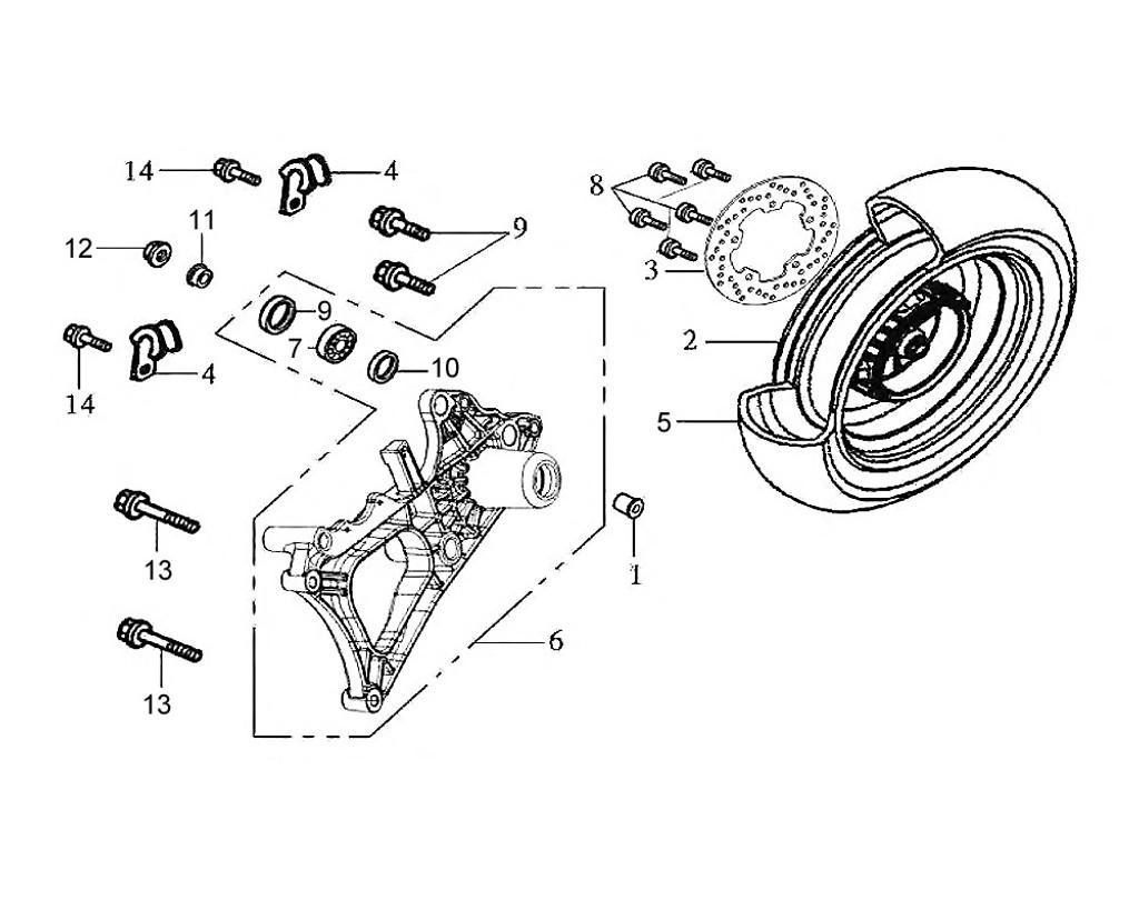 02 Rr. Cast Wheel Comp (S-877C) - HD 200 Evo