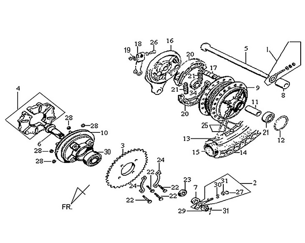 03 Rr. Wheel Axle - Wolf Classic 150
