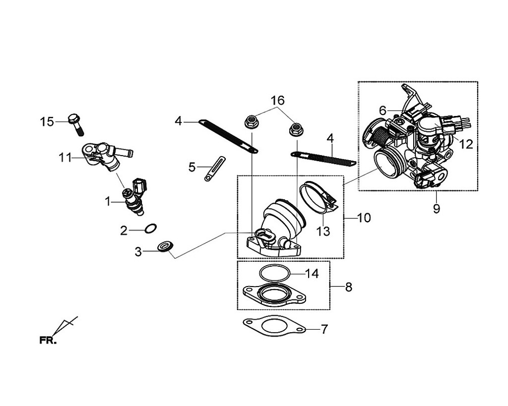 08 Carburetor Insulator Assy - Citycom S 300i
