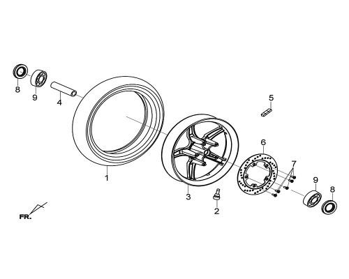 03 Fr Cast Wheel Comp BK-001C - Citycom S 300i