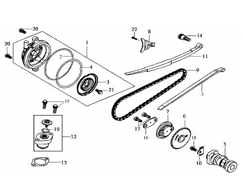 03 Cam Chain Guide Comp (#4007) - HD 200 Evo