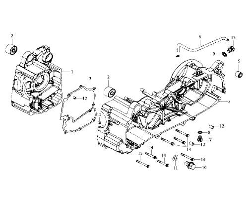 01 R. Crank Case Comp - HD 200 Evo