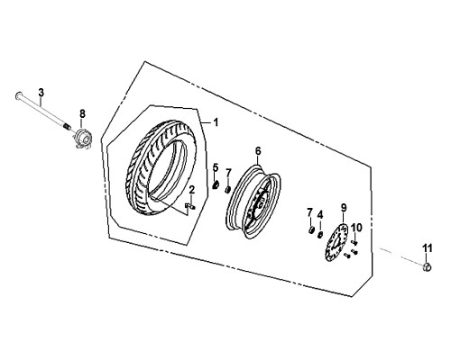 03-FR. wheel axle - Mio50 2019