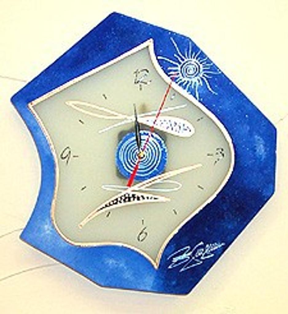 Sculpture Blue Clock