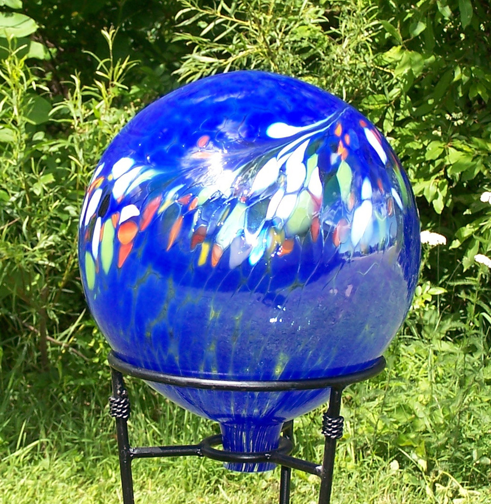 Garden Gazing Ball Circus Blue Iridized