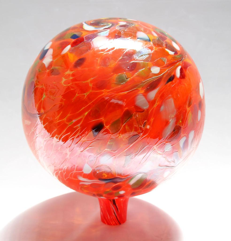 Garden Gazing Ball Circus Orange Iridized