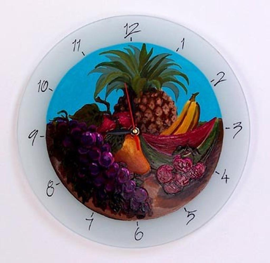 Fruit Basket Glass Clock