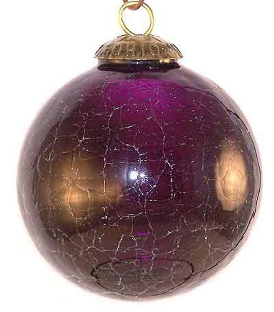 Brass Cap Purple Crackle Kugel