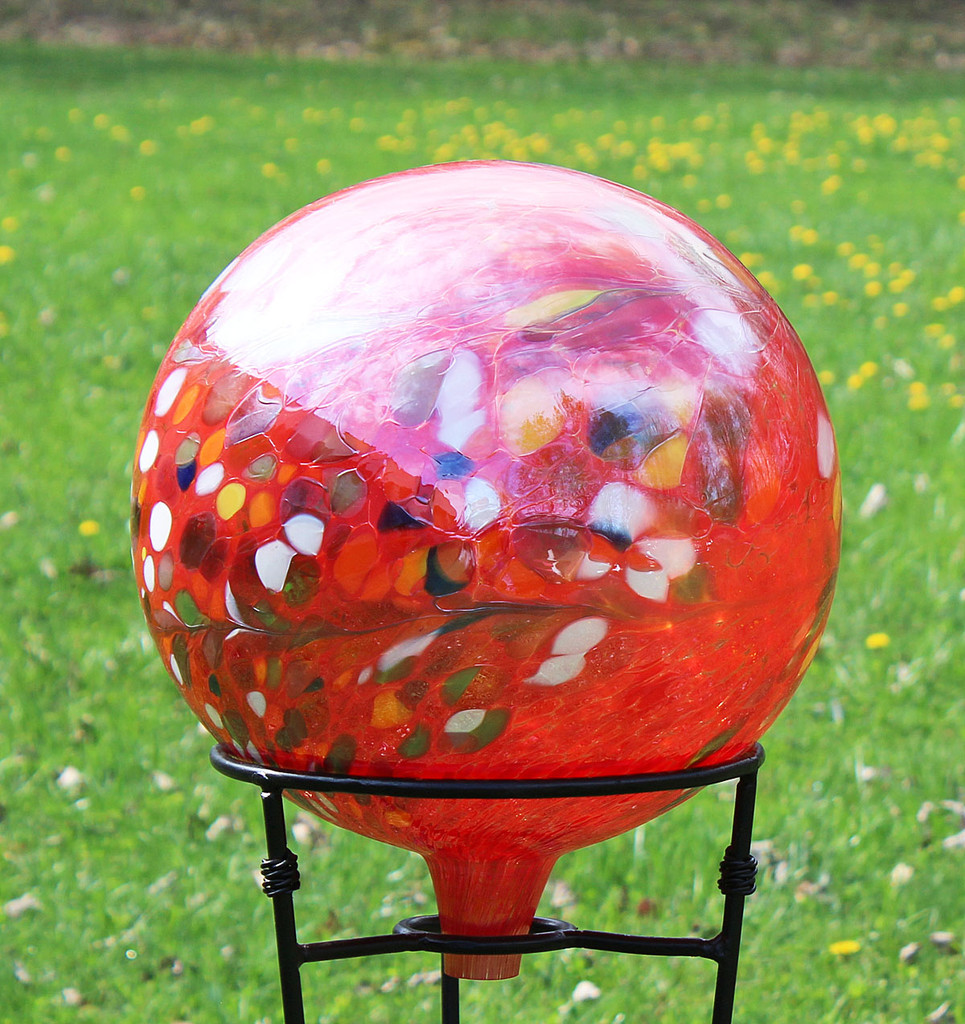 Garden Gazing Ball Circus Red  Iridized