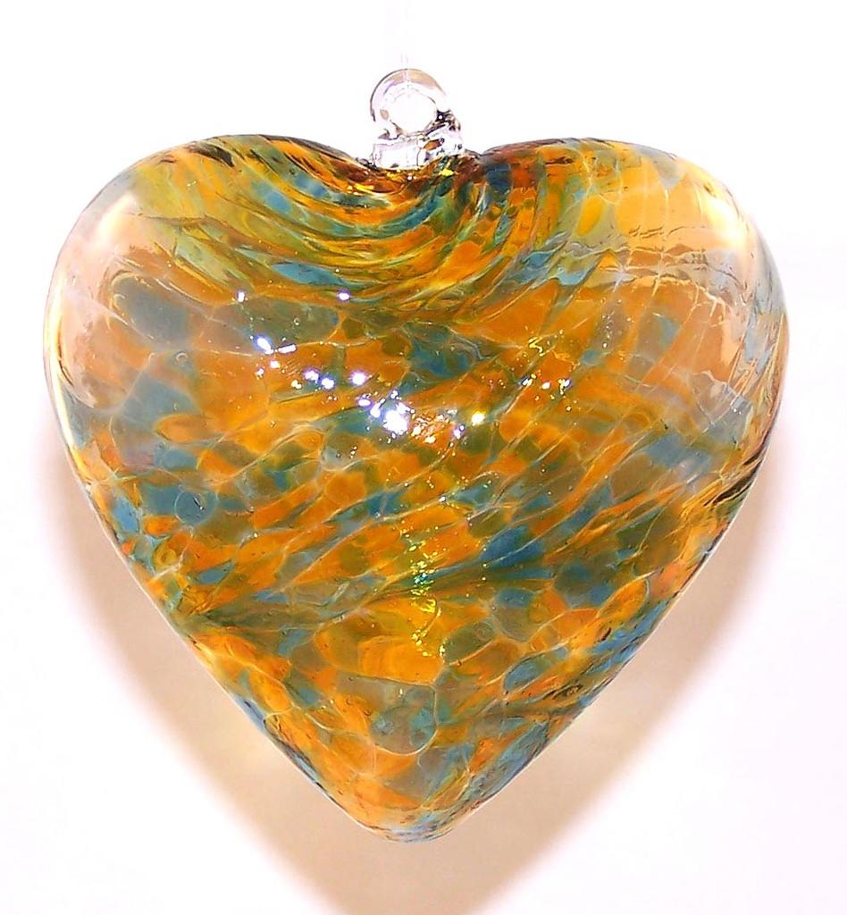 Large Heart Aqua / Gold