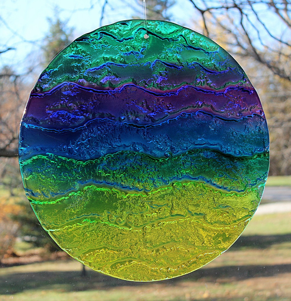 "Multicolor Water Glass Sun Disk  ""Gentle Wave"""